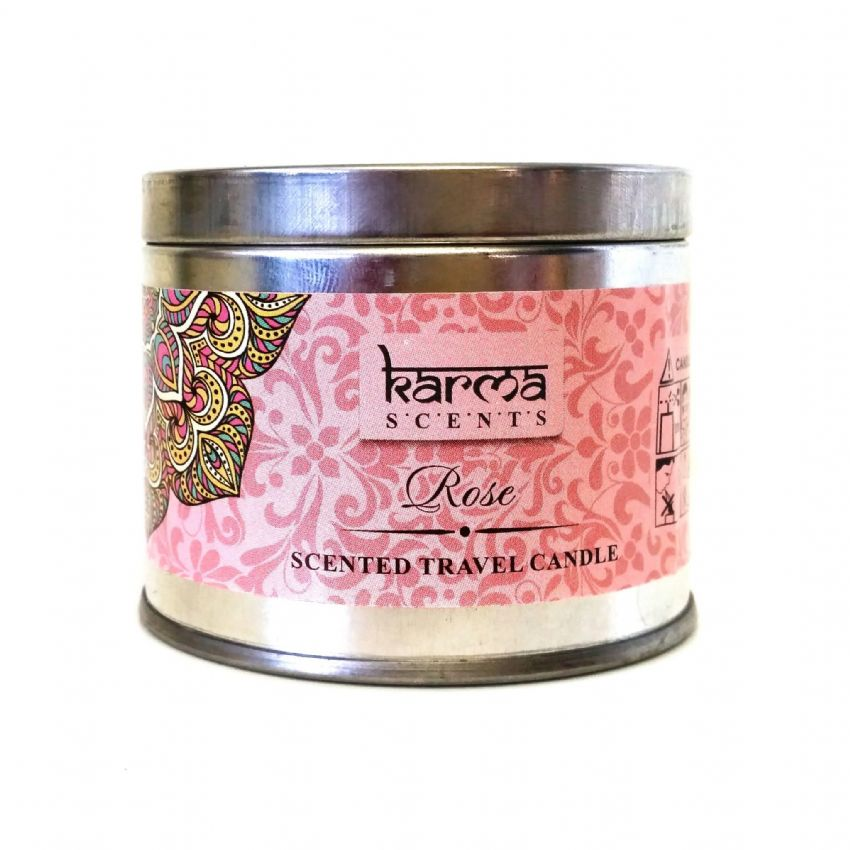 Rose - Scented Travel Candle Tin - Karma Scents Home Fragrances